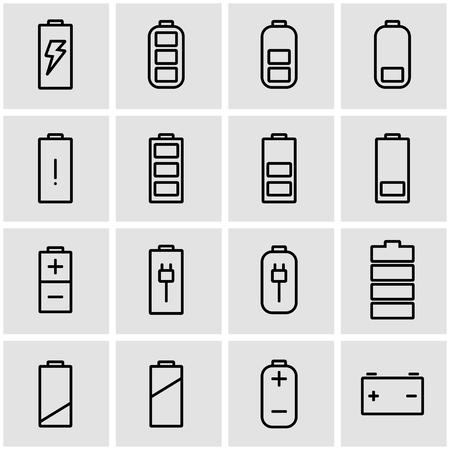 Zestaw ikon baterii wektorowych linii. Ikona baterii obiektu, ikona baterii obraz, obraz ikony baterii - wektor