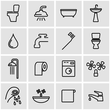 bathroom icon: Vector line bathroom icon set. Bathroom  Icon Object, Bathroom Icon Picture, Bathroom Icon Image - stock vector