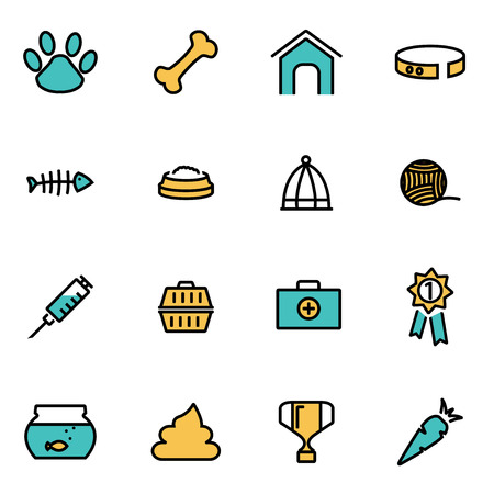 developers: Trendy flat line icon pack for designers and developers. Vector line pet set, pet icon object, pet icon picture, pet icon image - stock vector