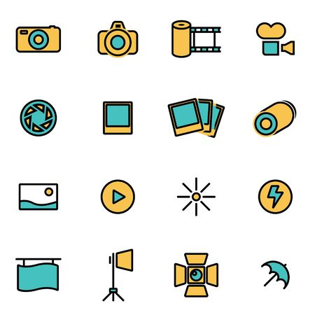 photo icon: Trendy flat line icon pack for designers and developers. Vector line photo set, photo icon object, photo icon picture, photo icon image - stock vector Illustration