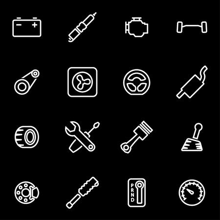 motor vehicle: Vector line car parts icon set. Car Parts Icon Object, Car Parts Icon Picture, Car Parts Icon Image - stock vector