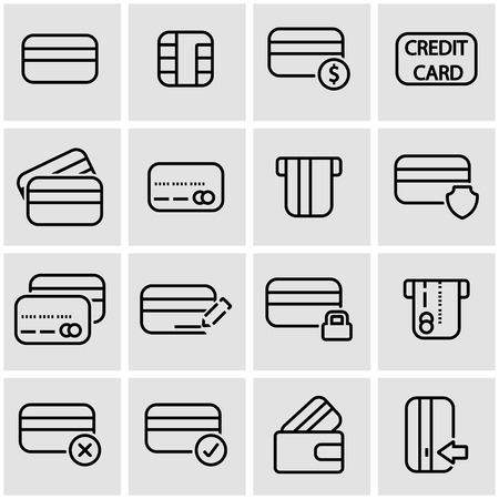 picture card: Vector line credit card icon set. Credit Card Icon Object, Credit Card Icon Picture, Credit Card Icon Image - stock vector