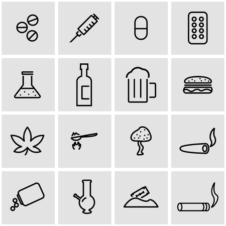 drogadiccion: los medicamentos de vector conjunto de iconos. Las drogas objeto Icon, icono de la imagen drogas, f�rmacos icono de imagen - Imagen vectorial