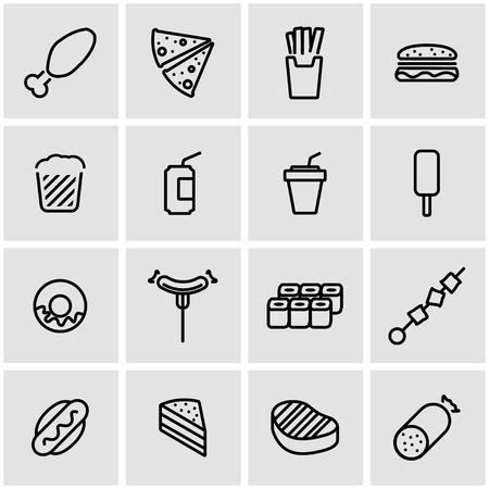 fastfood: Vector line fastfood icon set. Fastfood  Icon Object, Fastfood Icon Picture, Fastfood Icon Image - stock vector