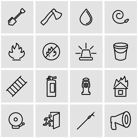 ladder safety: Vector line firefighter icon set. Firefighter Icon Object, Firefighter Icon Picture, Firefighter Icon Image - stock vector Illustration