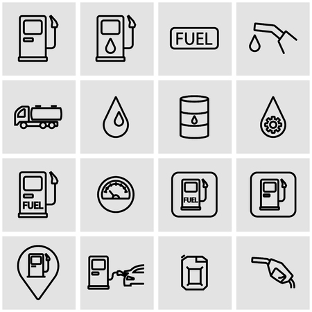 gas: Vector line gas station icon set. Gas Station Icon Object, Gas Station Icon Picture, Gas Station Icon Image - stock vector
