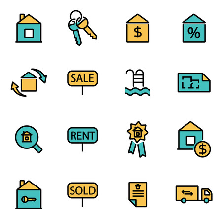 apartment search: Trendy flat line icon pack for designers and developers. Vector line real estate set, real estate icon object, real estate icon picture, real estate icon image - stock vector