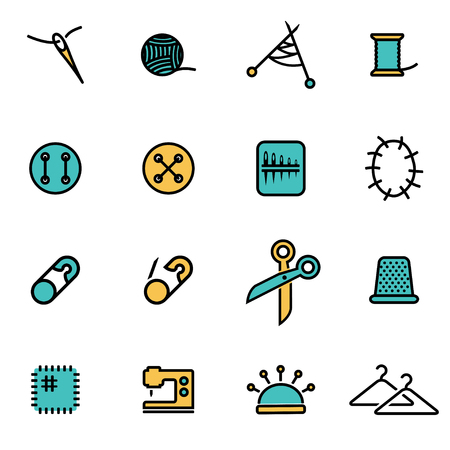 threads: Trendy flat line icon pack for designers and developers. Vector line sewing set, sewing icon object, sewing icon picture, sewing icon image - stock vector Illustration