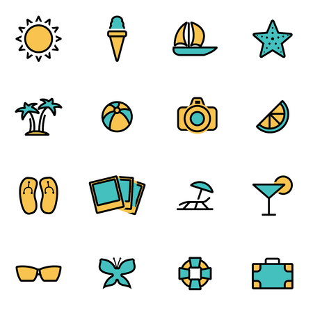 Trendy flat line icon pack for designers and developers. Vector line summer set, summer icon object, summer icon picture, summer icon image - stock vector