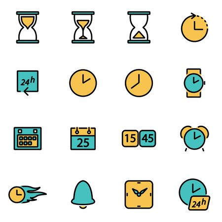 developers: Trendy flat line icon pack for designers and developers. Vector line time set, time icon object, time icon picture, time icon image - stock vector Illustration