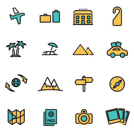 developers: Trendy flat line icon pack for designers and developers. Vector line travel set, travel icon object, travel icon picture, travel icon image - stock vector
