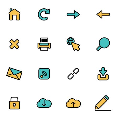 developers: Trendy flat line icon pack for designers and developers. Vector line web set, web icon object, web icon picture, web icon image - stock vector