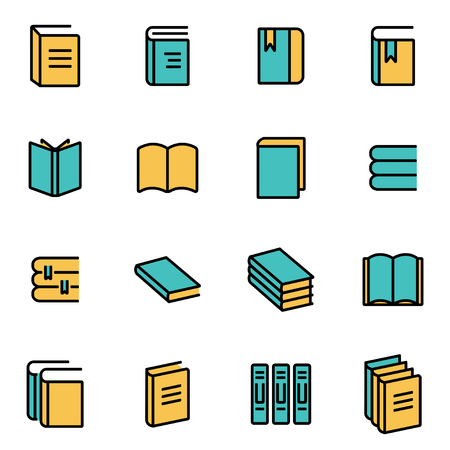 picture book: Trendy flat line icon pack for designers and developers. Vector line book icon set, book icon object, book icon picture, book icon image - stock vector