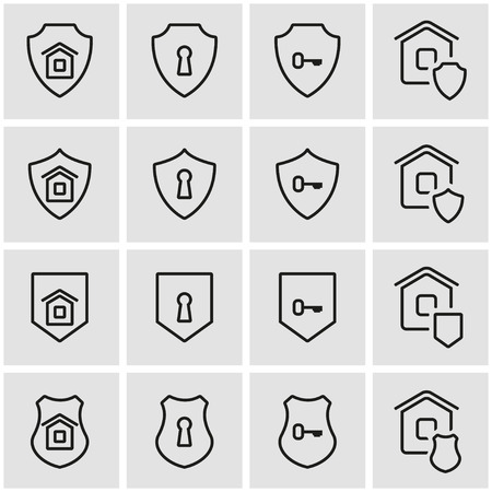 home security: Vector line home security icon set. Home Security Icon Object, Home Security Icon Picture, Home Security Icon Image - stock vector Illustration