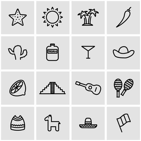 mexico city: Vector line mexico icon set. Mexico Icon Object, Mexico Icon Picture, Mexico Icon Image - stock vector
