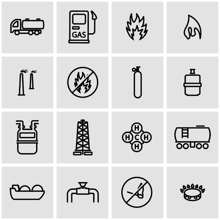 gas flame: Vector line natural gas icon set. Natural Gas Icon Object, Natural Gas Icon Picture, Natural Gas Icon Image - stock vector