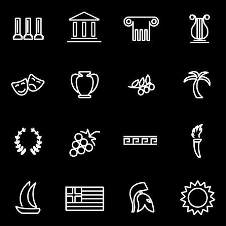 roman pillar: Vector line greece icon set. Greece Icon Object, Greece Icon Picture, Greece Icon Image - stock vector