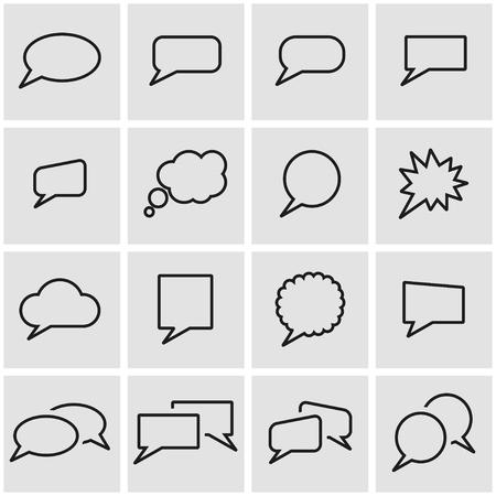 Vector line speach bubbles icon set. Speach Bubbles Icon Object, Speach Bubbles Icon Picture, Speach Bubbles Icon Image - stock vector  イラスト・ベクター素材