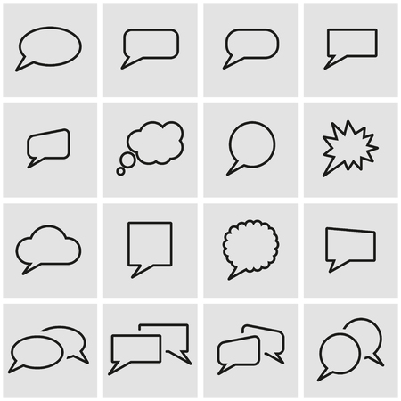 speach: Vector line speach bubbles icon set. Speach Bubbles Icon Object, Speach Bubbles Icon Picture, Speach Bubbles Icon Image - stock vector Illustration