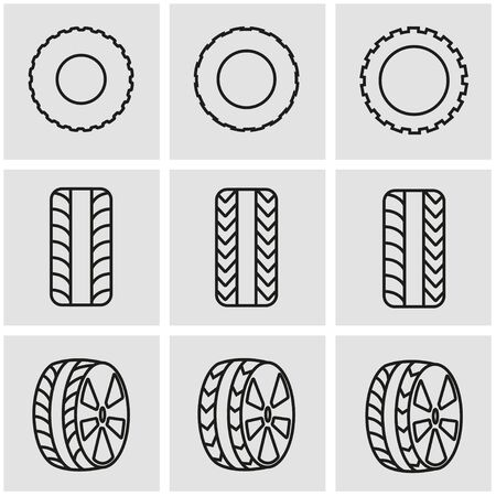 air liner: Vector line tire icon set. Tire Icon Object, Tire Icon Picture, Tire Icon Image - stock vector