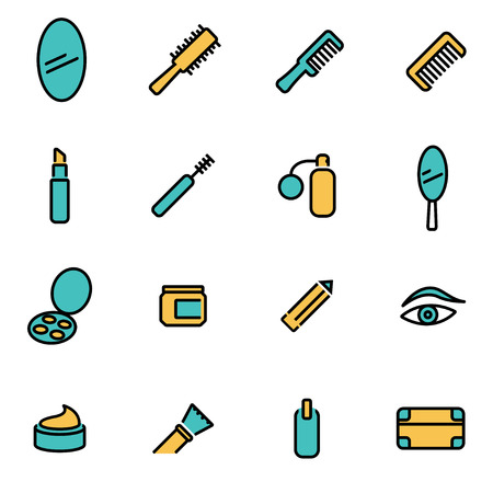 developers: Trendy flat line icon pack for designers and developers. Vector line cosmetics icon set, cosmetics icon object, cosmetics icon picture, cosmetics icon image - stock vector Illustration