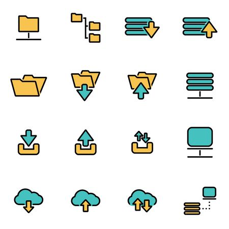 ftp: Trendy flat line icon pack for designers and developers. Vector line ftp icon set, ftp icon object, ftp icon picture, ftp icon image - stock vector