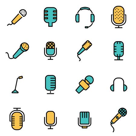 webcast: Trendy flat line icon pack for designers and developers. Vector line microphone icon set, microphone icon object, microphone icon picture, microphone icon image - stock vector