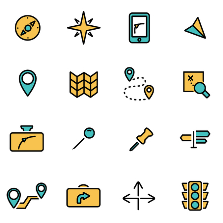 Trendy flat line icon pack for designers and developers. Vector line navigation icon set, navigation icon object, navigation icon picture, navigation icon image - stock vector