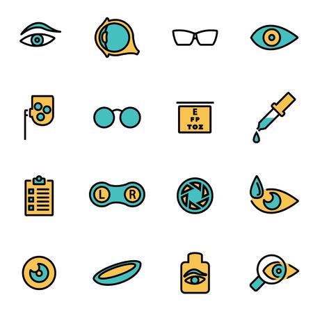 lentes de contacto: paquete de moda icono de la línea plana para los diseñadores y desarrolladores. conjunto de líneas de vector icono de optometría, optometría icono de objeto, icono de la optometría, imagen icono de la optometría - Imagen vectorial Vectores