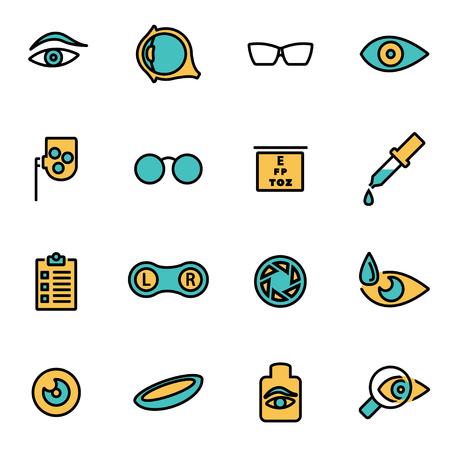 contact icons: Trendy flat line icon pack for designers and developers. Vector line optometry icon set, optometry icon object, optometry icon picture, optometry icon image - stock vector Illustration