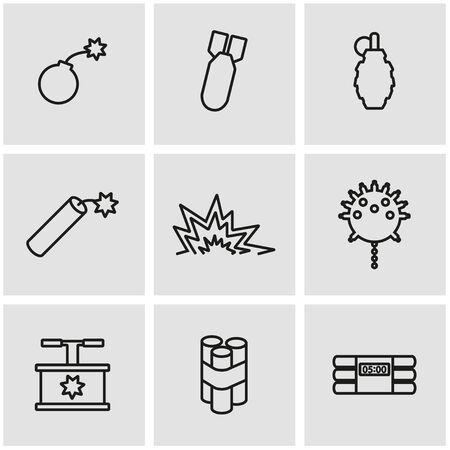 disagreement: Vector line bomb icon set. Bomb Icon Object, Bomb Icon Picture, Bomb Icon Image - stock vector Illustration