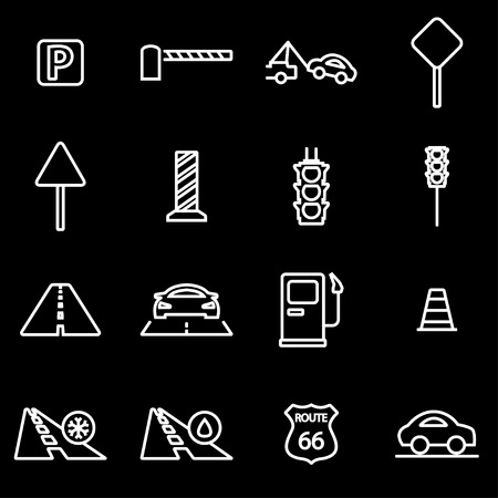 highway signs: Vector line road icon set. Road Icon Object, Road Icon Picture, Road Icon Image - stock vector Illustration