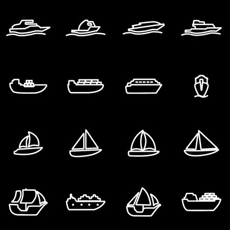 marine industry: Vector line ship and boat icon set. Ship and Boat Icon Object, Ship and Boat Icon Picture, Ship and Boat Icon Image - stock vector