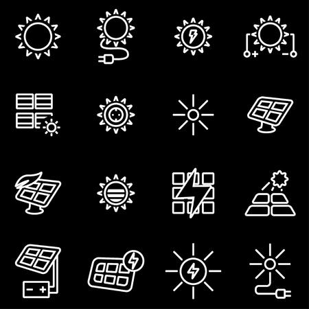 energy picture: Vector line solar energy icon set. Solar Energy Icon Object, Solar Energy Icon Picture, Solar Energy Icon Image - stock vector
