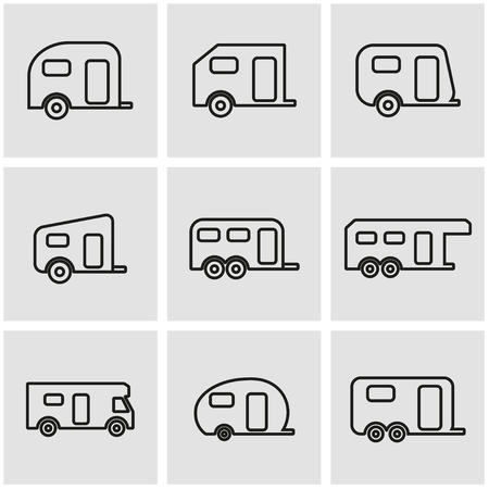Vector line trailer icon set. Trailer Icon Object, Trailer Icon Picture, Trailer Icon Image - stock vector