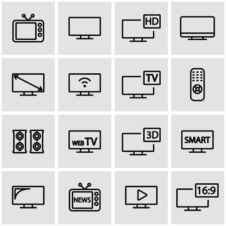 remote: Vector line tv icon set. TV Icon Object, TV Icon Picture, TV Icon Image - stock vector Illustration