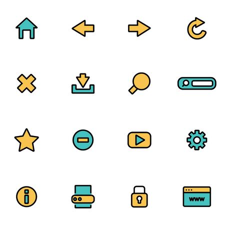 developers: Trendy flat line icon pack for designers and developers. Vector line browser icon set, browser icon object, browser icon picture, browser image - stock vector