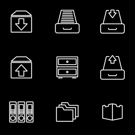 Vector line archive icon set. Archive Icon Object, Archive Icon Picture, Archive Icon Image - stock vector