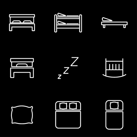 line vector: Vector line bed icon set. Bed Icon Object, Bed Icon Picture, Bed Icon Image - stock vector