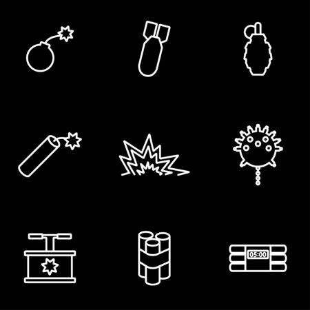vector bomb: Vector line bomb icon set. Bomb Icon Object, Bomb Icon Picture, Bomb Icon Image - stock vector Illustration