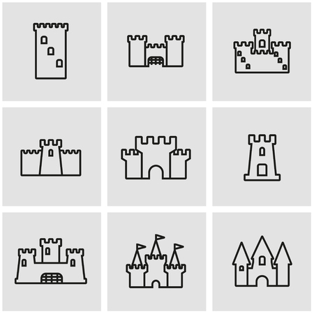 stronghold: Vector line castle icon set. Castle Icon Object, Castle Icon Picture, Castle Icon Image - stock vector Illustration