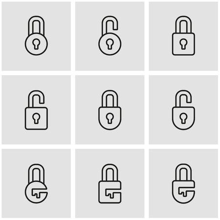 is closed: Vector line locks icon set. Locks Icon Object, Locks Icon Picture, Locks Icon Image - stock vector Illustration