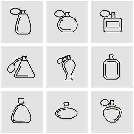 scent: Vector line perfume icon set. Perfume Icon Object, Perfume Icon Picture, Perfume Icon Image - stock vector Illustration