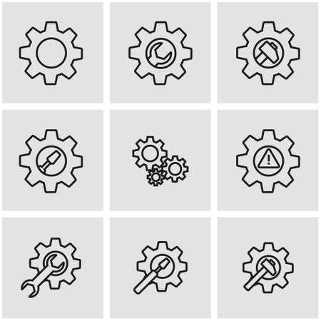 maintenance work: Vector line tools in gear icon set. Tools in Gear Icon Object, Tools in Gear Icon Picture, Tools in Gear Icon Image - stock vector