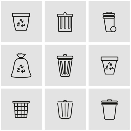 recycling symbols: Vector line trash can icon set. Trash Can Icon Object, Trash Can Icon Picture, Trash Can Icon Image - stock vector Illustration