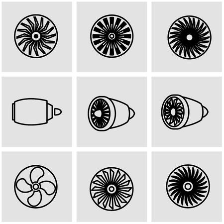 planos electricos: Vector de la línea turbinas conjunto de iconos. Turbinas objeto Icon, turbinas icono de imagen, turbinas de imagen de iconos - Imagen vectorial Vectores