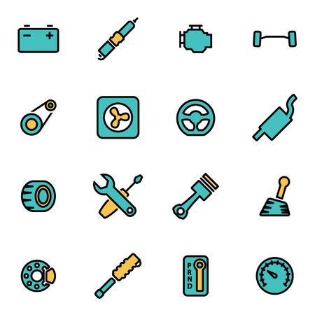 piezas coche: paquete de moda icono de la línea plana para los diseñadores y desarrolladores. Vector línea de las piezas del coche conjunto de iconos, las piezas del coche icono del objeto, icono de las piezas del coche de imagen, la imagen de piezas de automóviles - Imagen vectorial