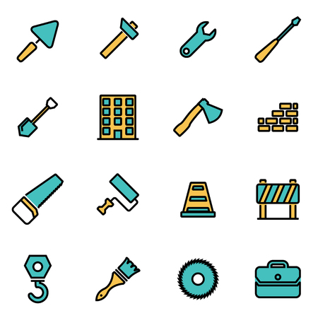 industrial vehicle: Trendy flat line icon pack for designers and developers. Vector line construction icon set, construction icon object, construction icon picture, construction image - stock vector Illustration