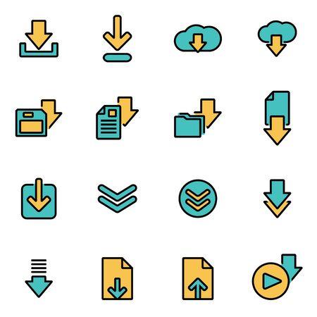 Trendy vlakke lijn icon pack voor ontwerpers en ontwikkelaars. Vector lijn download icon set, download icon object, download icoon, beeld downloaden - voorraad vector Vector Illustratie