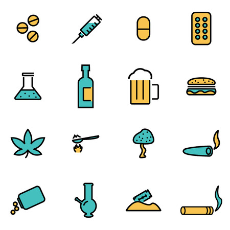 Drugs: Trendy flat line icon pack for designers and developers. Vector line drugs icon set, drugs icon object, drugs icon picture, drugs image - stock vector